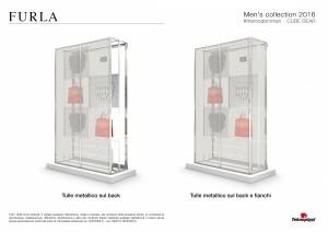 Tavole di progetto allestimento vetrine Furla Uomo - Proposta back