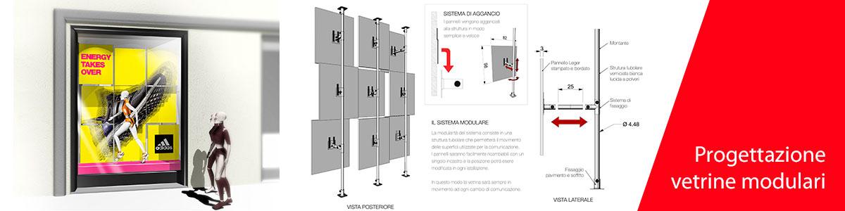 Progettazione e allestimento vetrine modulari